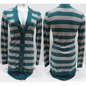 Belle Du Jour sweater Medium striped long button